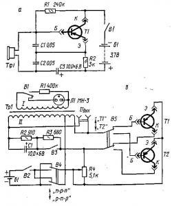 Простейшие схемы для начинающих радиолюбителей.