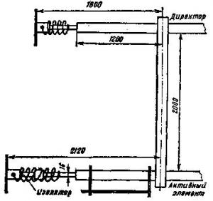 Двухэлементная укороченная антенна