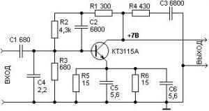 Широкополосный усилитель на транзисторе КТ3115А