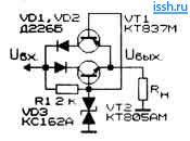 Схема параметрического стабилизатора напряжения на симметричном стабилитроне