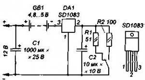 Зарядка стабильным током (для аккумуляторов 1,25 В, типа AA, Д-0,25; на SD1083 или КР142ЕН22)