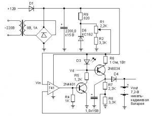Рис.1. Схема автоматического зарядного устройства для Ni-Cd-аккумуляторов.  Если батарея разряжена, то напряжение на...