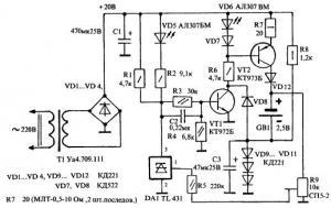Принципиальная схема предлагаемого зарядного устройства показана на ри...