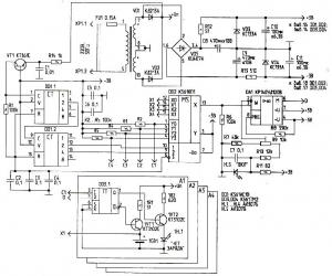Рис.1. Схема цыфрового зарядного устройства.  Биты и байты.