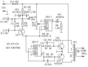 Преобразователь напряжения 12/220 - 50 Гц (мощность до 100 Вт, 1 микросхема, 3 транзистора)