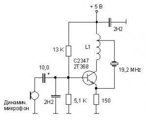 Кварцевый FM-передатчик на одном транзисторе