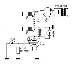 Предварительный усилитель на трех деталях на лампе 6э5п