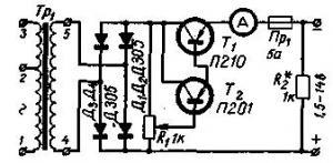 Выпрямители с электронным регулятором для зарядки аккумуляторов (две простых схемы)