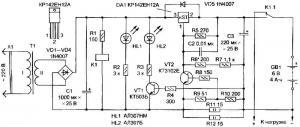 Предлагается вариант зарядного устройства для аккумуляторных батарей , схема которого приведена на рис. 1...