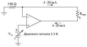 Преобразование сигнала напряжение-ток