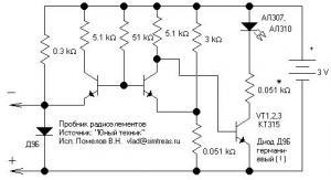 Пробник электроцепей и радиоэлементов