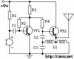 Жучек с двумя транзисторами