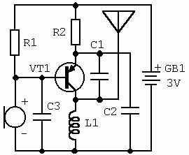 Простейший радиомикрофон на одном транзисторе