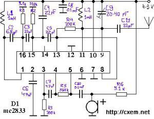 Передатчик на микросхеме Motorola MC2833