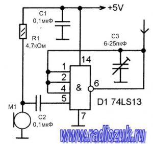 Радио жук на микросхеме 74LS13