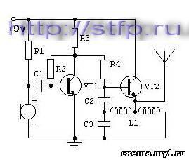 Простой радиомикрофон (жучок) на двух транзисторах c повышенным КПД